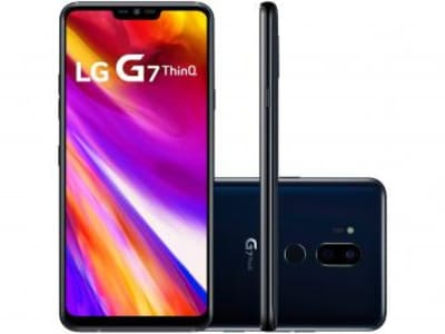 "Smartphone LG G7 ThinQ 64GB Preto 4G Octa Core - 4GB RAM Tela 6,1"" Câm. 16MP e 16MP Selfie 8MP"