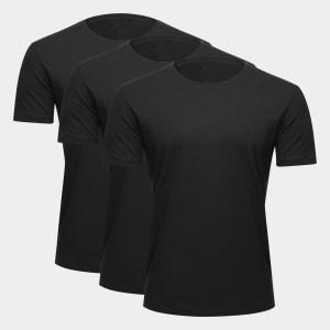 Kit Camiseta Básicos 3 Peças Masculino - Preto