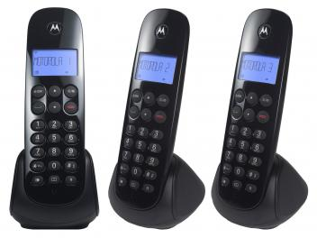 Telefone Sem Fio Motorola MOTO700-MRD3 + 2 Ramais - Identificador de Chamada Preto - Magazine Ofertaesperta