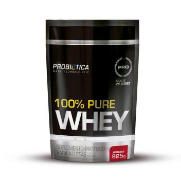 Whey Protein 100% Pure Whey Refil Pouch Probiótica 825g - Morango