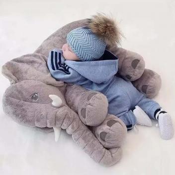 Almofada Travesseiro Elefante Pelúcia Bebê Dormir Cinza 60cm - Shiny love - Magazine Ofertaesperta