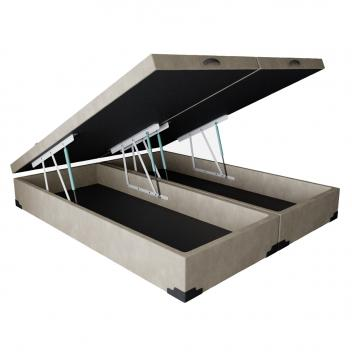 Base para Cama Box Queen Premium com Baú Suede Pena (45x158x198) Bege - Mobly - Magazine Ofertaesperta