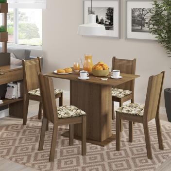 Conjunto Sala de Jantar Lexy Madesa Mesa Tampo de Madeira com 4 Cadeiras - Magazine Ofertaesperta