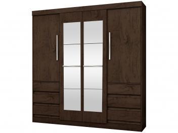 Guarda-roupa Casal com Espelho 4 Portas 6 Gavetas - Araplac Atraente Sofia
