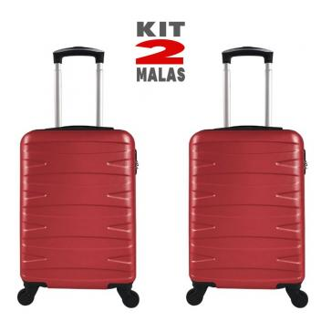 """Kit c/ 2 Malas de Bordo c/ 4 Rodinhas 360º (Regulamentação ANAC) Stile 18"""" Vermelhas - Bela - Magazine Ofertaesperta"""