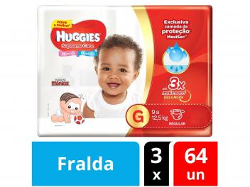 Kit Fraldas Huggies Turma da Mônica Supreme Care - Tam. G 3 Pacotes 64 Unidades - Magazine Ofertaesperta