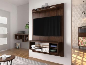 "Painel para TV Até 46"" Premium Reflect - 1 Prateleira Flex Caemmun - Magazine Ofertaesperta"