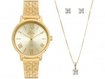 Relógio Feminino Allora Analógico AL2035FOK/K4D - Dourado com Brinco e Colar