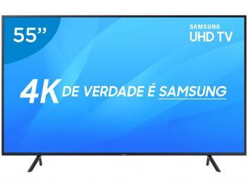 "Smart TV 4K LED 55"" Samsung NU7100 Wi-Fi HDR - Conversor Digital 3 HDMI 2 USB - Magazine Ofertaesperta"