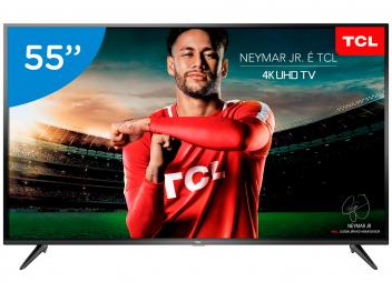 "Smart TV 4k LED 55"" TCL P65US Wi-Fi HDR - Conversor Digital 3 HDMI 2 USB - Magazine Ofertaesperta"