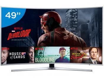 """Smart TV LED Curva 49"""" Samsung 4K/Ultra HD - KU6500 Conversor Digital Wi-Fi 3 HDMI 2 USB - Magazine Ofertaesperta"""