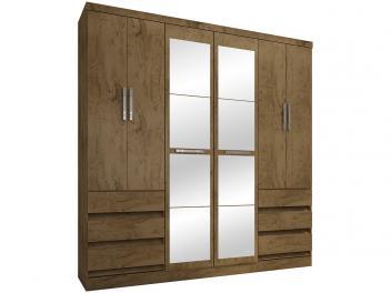 Guarda-roupa Casal 6 Portas 6 Gavetas Araplac - 217729-88 com Espelho
