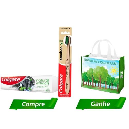 Kit Creme Dental Colgate Natural Extracts Purificante 90g+ Escova Dental Bamboo + Sacola Ecológica