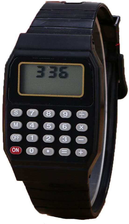 Relógio Digital Calculadora Calendário Hora Cor Preto Nostalgia Retrô Infância Geek