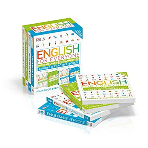 English for Everyone: Intermediate and Advanced Box Set: Course and Practice Books Four-Book Self-Study Program (Inglês) Capa comum – Ilustrado