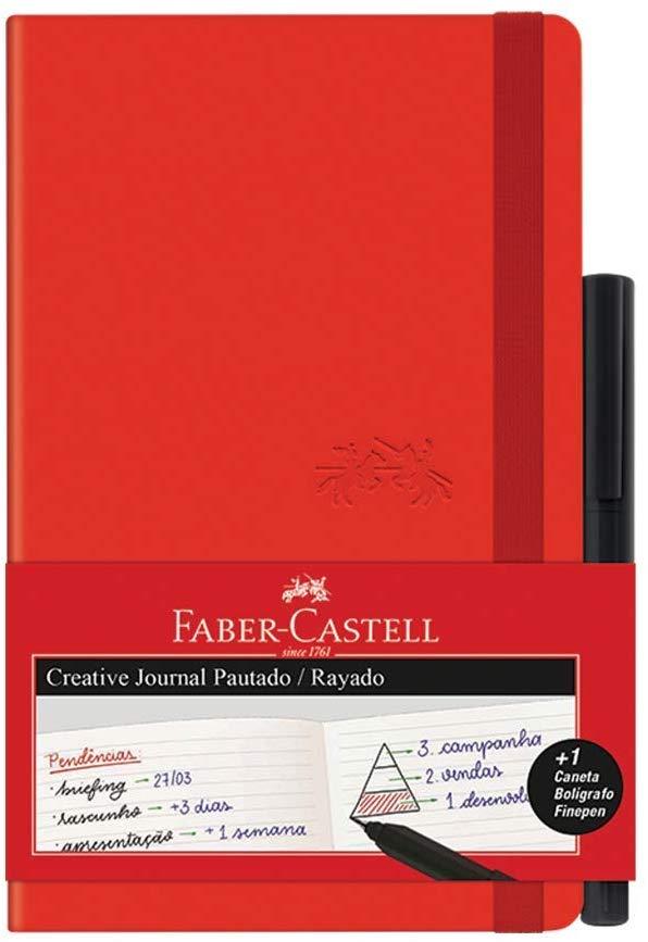 Caderno Pautado + Fine Pen Faber-Castell Creative Journal CDNETA/VM 84 Folhas Vermelho