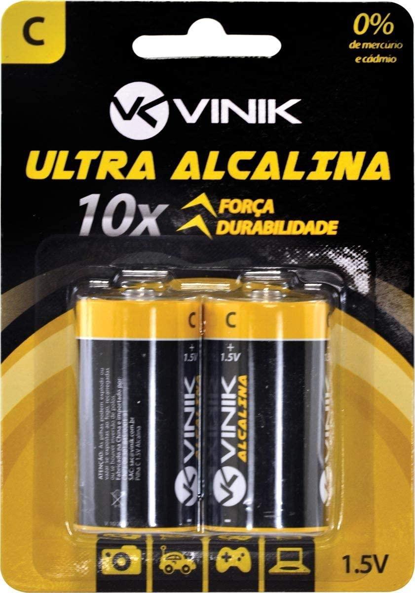 Pilha C 1.5V Alcalina Blister com 2 Unidades - AKC2, VINIK, 25591
