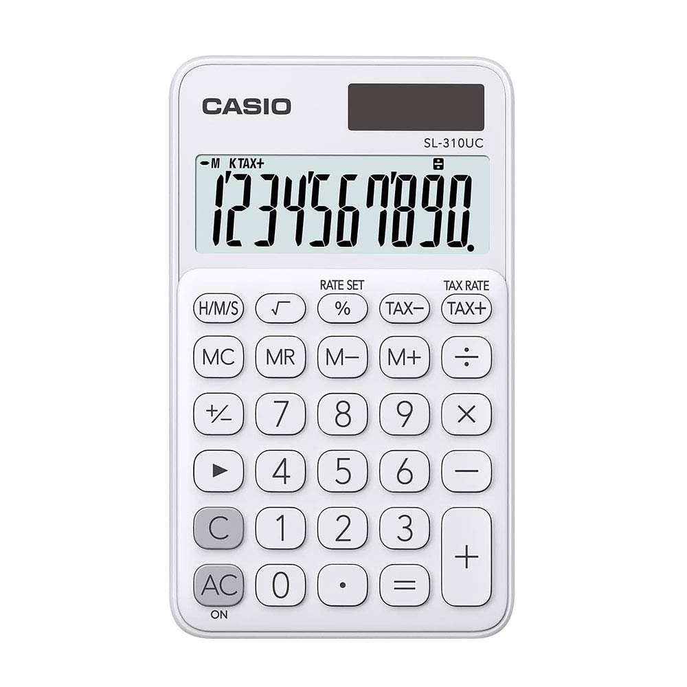 Calculadora Portátil Com Visor Amplo 10 Dígitos e Alimentação Dupla, Casio, Branca