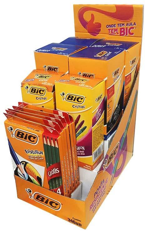 Kit PDQ BIC: 4 cartuchos de 50 und. Caneta BIC Cristal Dura+ Azul; 2 Cartuchos de 25 und. Caneta BIC Cristal Fashion Sortido e 6 Estojos Lápis de Cor