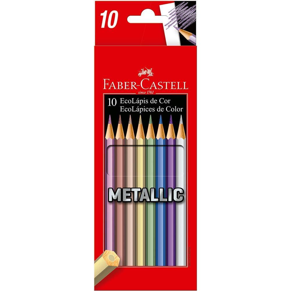 Lápis de Cor Faber-Castell EcoLápis Metallic 120410G 10 Cores