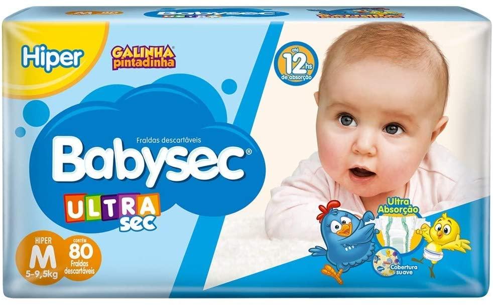 5 unidades - Fraldas descartáveis Babysec Ultrasec Galinha Pintadinha, 80 Unidades, Tamanho M 5 - 9,5 Kg