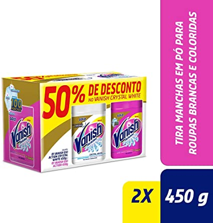 Vanish Tira Manchas Oxi Action Kit com 1 Pink 450 g e 1 Crystal White 450 g