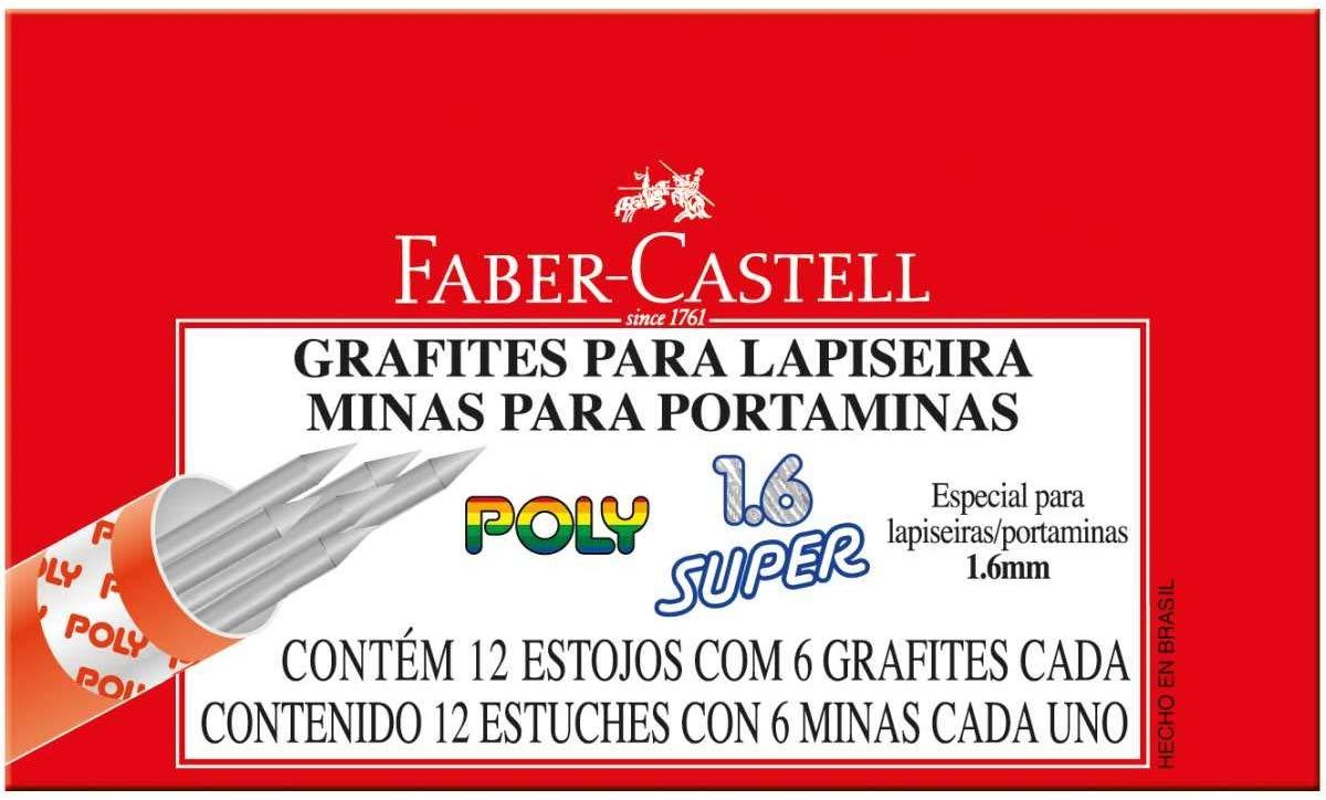 Grafite 1.6mm 1, 6 B 12tubosx06minas Polymer - Caixa com 12 Faber Castell, Multicor