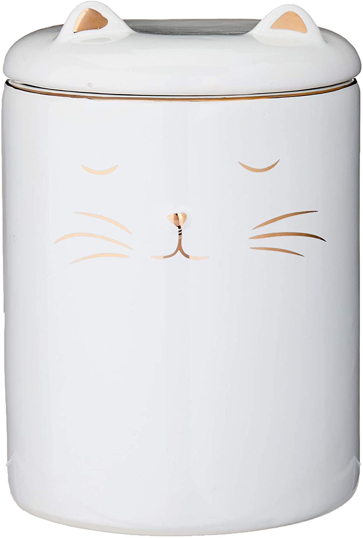 Pote Gato Em Cerâmica Mart Branco