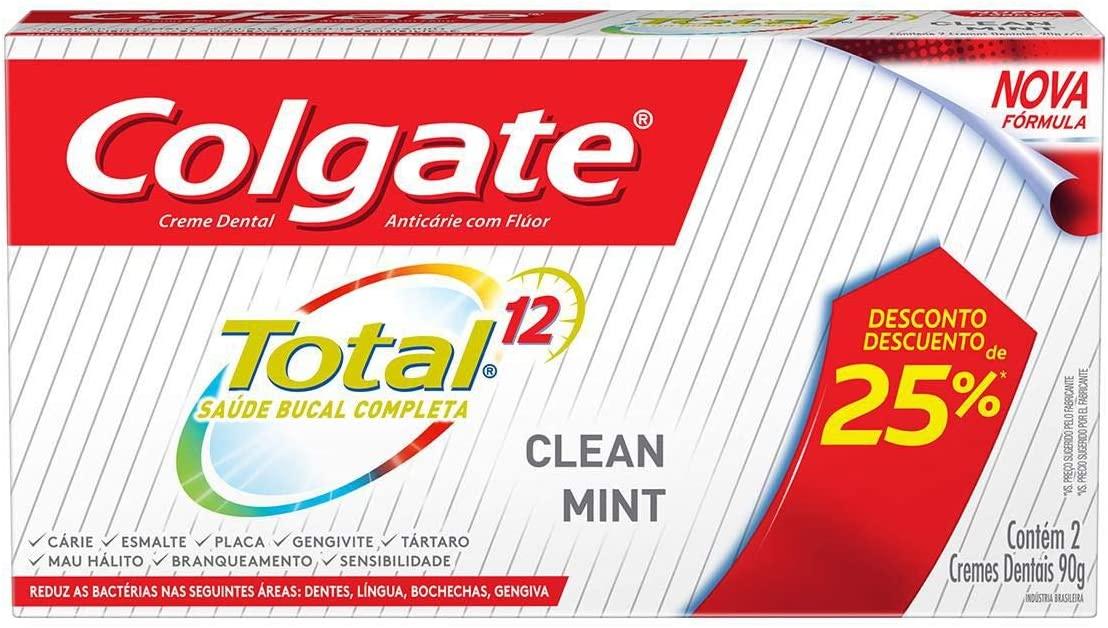 2 Caixas Creme Dental Colgate Total 12 Clean Mint 90g - 4 Unidades