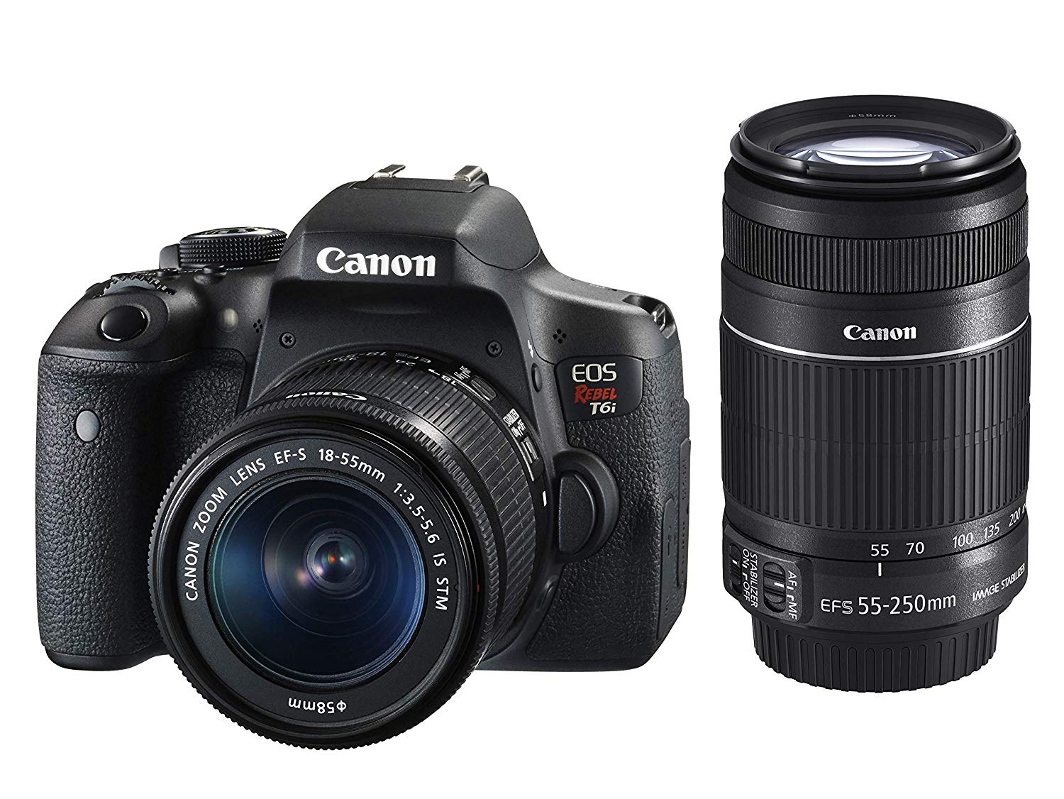 Kit Premium Canon Câmera Rebel T6i com Lente EF-S 18-55mm f/3.5-5.6 IS STM e EF-S 55-250mm f/4-5.6 IS STM