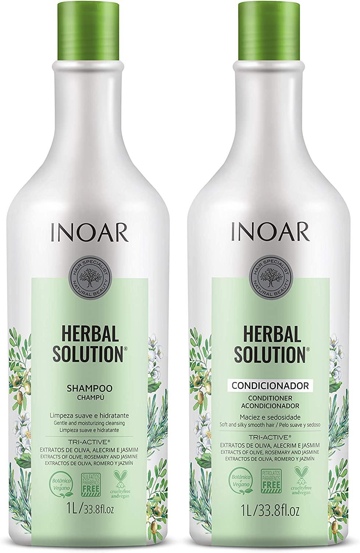 Inoar Herbal Solution Kit Shampoo e Condicionador Suave 1L, Pacote De 2