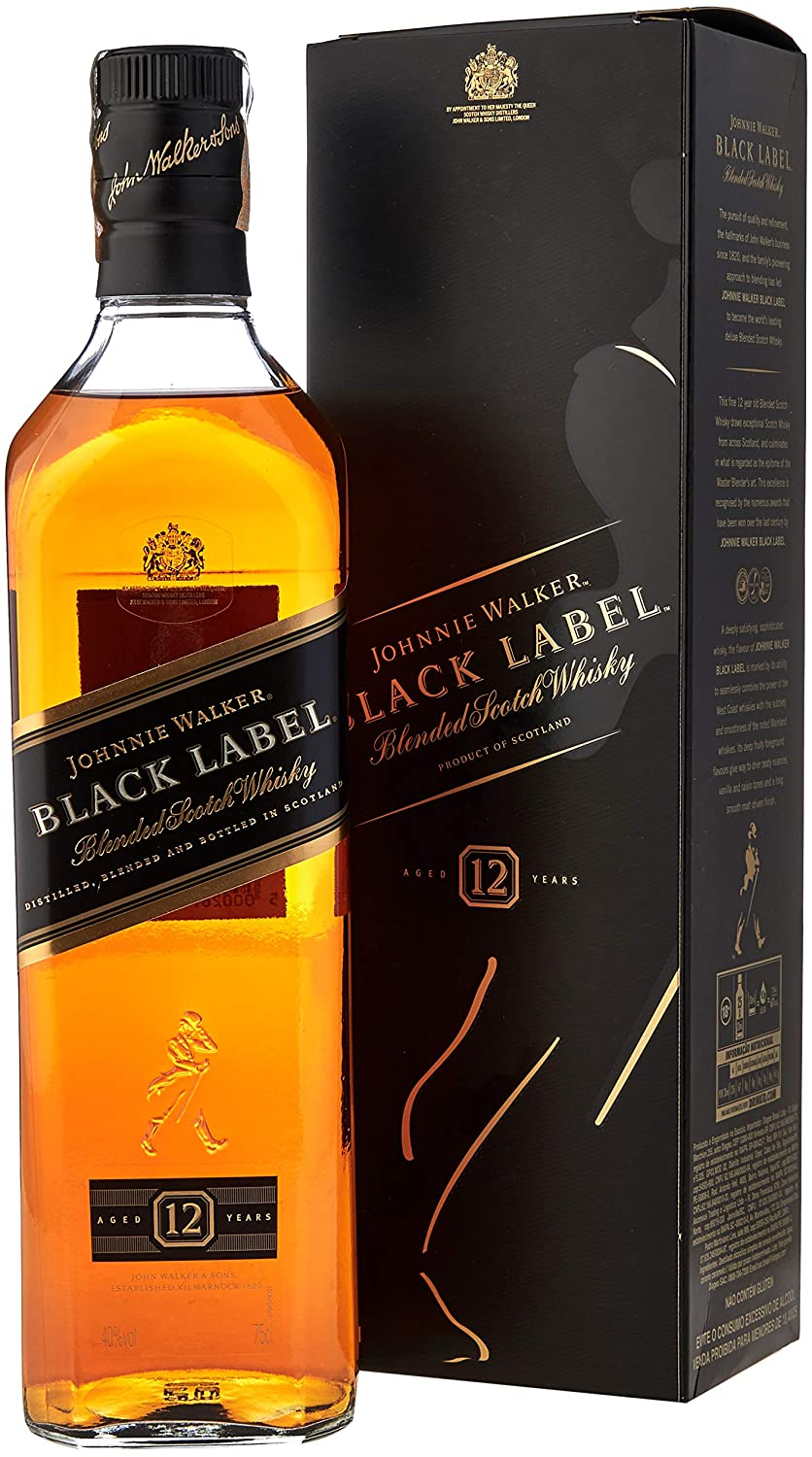 Whisky Johnnie Walker 12 anos, Black Label , 750ml