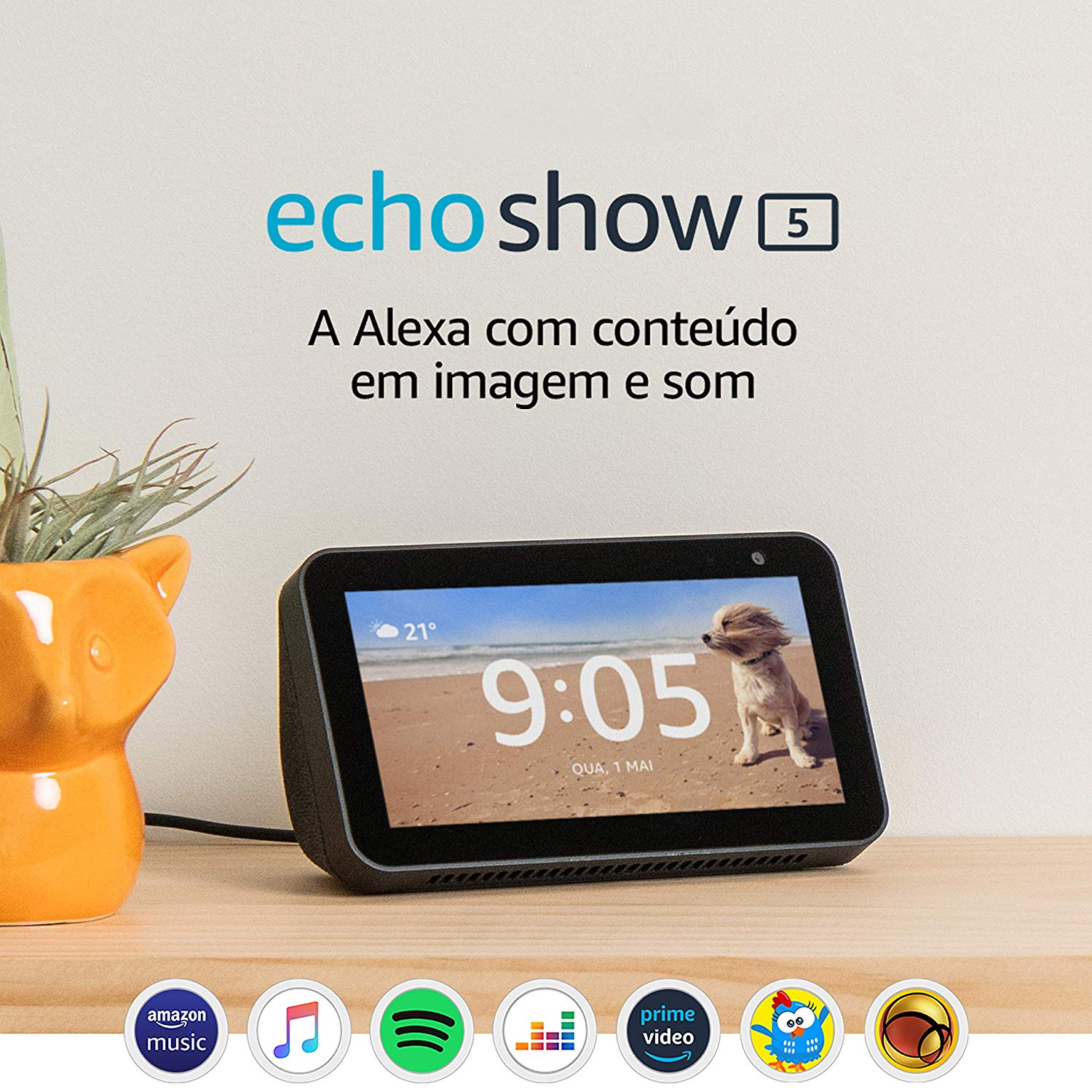 "Echo Show 5 - Smart Speaker com tela de 5,5"" e Alexa - Cor Preta [ Amazon Prime ]"