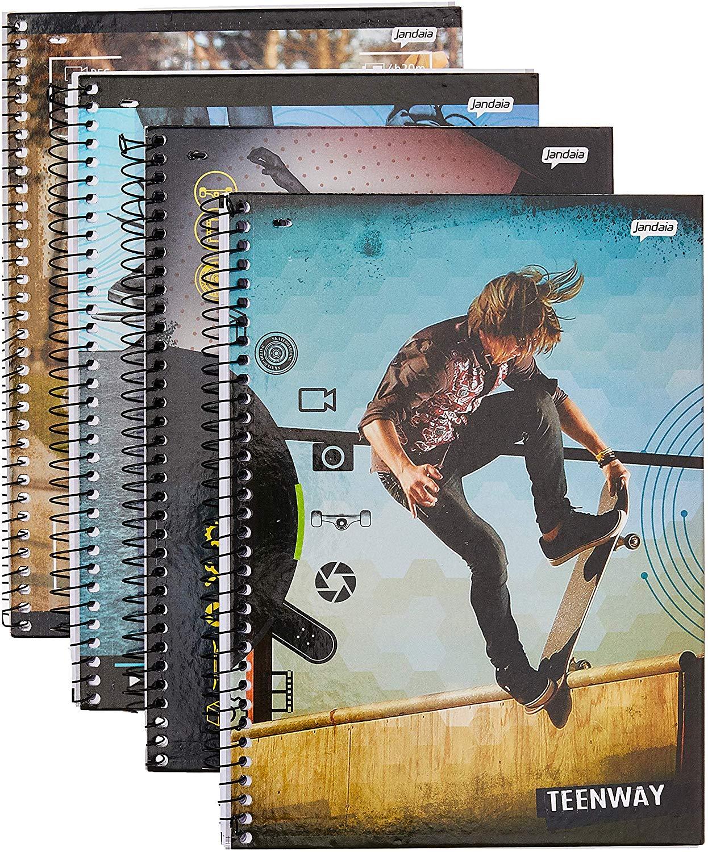 Caderno Universitário, Capa Dura, 1 X 1, Teen Way 96 Folhas, Pacote Com 04, Jandaia