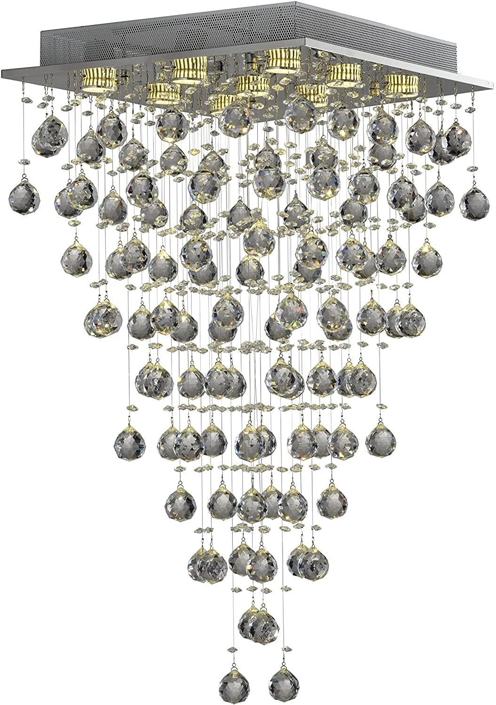 Plafon Linha Tyrell Quadrado 9 Lampadas Sl-5768/c9 Wee Cromado/Transparente