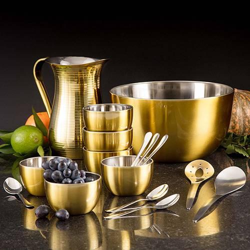 Saladeira Inox Gold com 2 Talheres + Conjunto Sobremesa com 12 Peças + Jarra Inox 1,5 L - La Cuisine