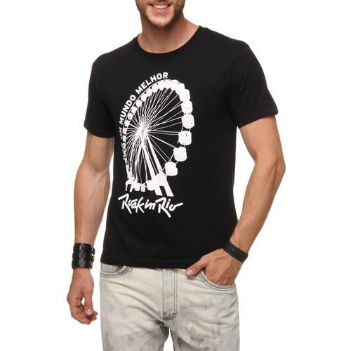 Camiseta Rock in Rio: Roda Gigante Preta Masculina - Dimona