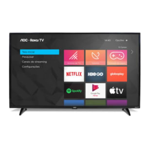 "Smart TV AOC Roku 32"" LED HD HDMI USB Miracast Roku Mobile WI-FI - Preto"