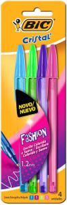 Caneta Esferográfica BIC Cristal Fashion Vivas, 4 Cores, 1.2mm, 902473, 4 unidades