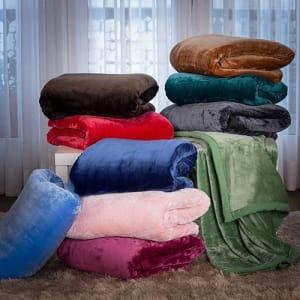 Cobertor Casal Flannel Colors Com Borda Em Percal - Casa & Conforto