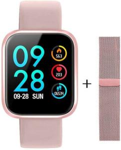 Smartwatch P80 Original Touch Screen Rosa + Pulseira Milanese Magnética