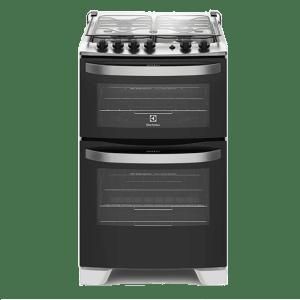 Oferta ➤ Fogão com porta Full Glass e duplo forno 4 queimadores de piso Branco (56DAB)   . Veja essa promoção