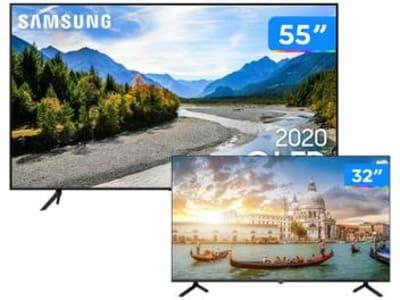 "Combo Smart TV 4K QLED 55"" Samsung 55Q60TA Wi-Fi - Bluetooth HDR 3 HDMI 2 USB + HD D-LED 32"" Philco"