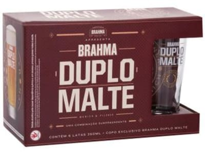 Kit Cerveja Brahma Duplo Malte Lager 6 Unidades - 350ml com Copo - Magazine Ofertaesperta