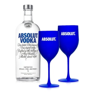 Kit Vodka Absolut Original 1L + 2 Taças