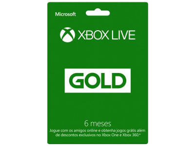 Oferta ➤ Cartão Microsoft Xbox Live Gold 6 Meses – Para Xbox One e Xbox 360   . Veja essa promoção