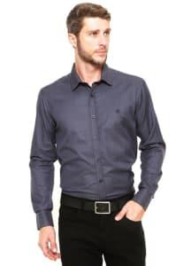 Camisa Polo Wear Reta Tricoline Cinza