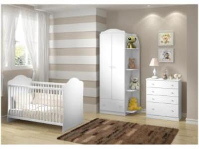 Quarto de Bebê Completo Multimóveis Confete Luiza - 3 Níveis de Altura com Cômoda com Guarda-roupa - Magazine Ofertaesperta