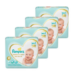 Kit de Fraldas Pampers Premium Care Mega M - 136 unidades