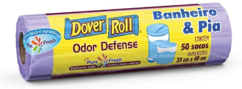 Saco para lixo Dover-Roll Odor Defense, Banheiro & Pia, Lilás, rolo com 50 sacos, 510022028